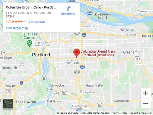Directions to Urgent Care in Portland OR on SE Tibbetts St.