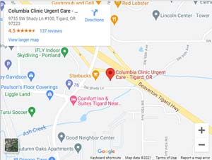 Directions to Urgent Care in Tigard, OR on SW Shady Lane